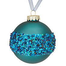 Buy John Lewis Shangri-La Sequined Band Bauble, Blue Online at johnlewis.com