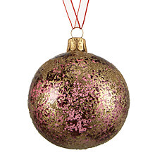 Buy John Lewis Crackle Glass Bauble, Gold / Berry Online at johnlewis.com