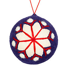 Buy John Lewis Chamonix Felt Snowflake Bauble, Blue / White Online at johnlewis.com