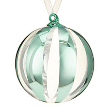 Buy John Lewis Ostravia Stripe Bauble, Aqua Online at johnlewis.com