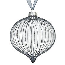 Buy John Lewis Helsinki Fine Stripe Onion Bauble, Clear Online at johnlewis.com
