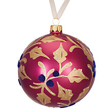 Buy John Lewis Ruskin House Flocked Holly Bauble, Cranberry Online at johnlewis.com