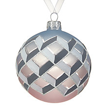 Buy John Lewis Helsinki Frosted Bauble, Pink / Graphite Online at johnlewis.com
