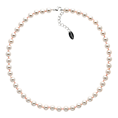 Finesse Glass Faux Pearl Necklace, Blush