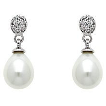 Buy Finesse Glass Faux Pearl and Cubic Zirconia Drop Earrings, Silver/White Online at johnlewis.com