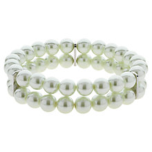 Buy Finesse Double Strand Glass Faux Pearl Stretch Bracelet, White Online at johnlewis.com