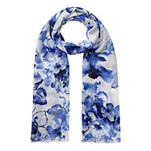 Buy Jacques Vert Floral Print Scarf, Mid Blue Online at johnlewis.com