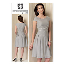 Buy Vogue Women's Misses' Cap Sleeve Pleated Dress Sewing Pattern, 1499 Online at johnlewis.com