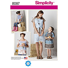 Buy Simplicity Women's and Child's Tunic Sewing Pattern, 8087, A Online at johnlewis.com