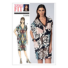 Buy Vogue Misses' Women's V-Neck Cocoon Dress Sewing Pattern, 1496 Online at johnlewis.com
