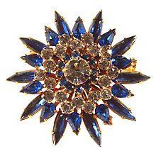 Buy Alice Joseph Vintage 1950s Gold Toned Navette Diamante Flower Brooch, Sapphire Blue/Clear Online at johnlewis.com
