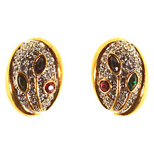 Buy Alice Joseph Vintage 1980s Gold Toned Oval Diamante Clip-On Earrings, Gold/Multi Online at johnlewis.com