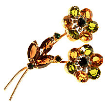 Buy Alice Joseph Vintage 1950s Gold Toned Diamante Flower Spray Brooch, Green/Citrine Online at johnlewis.com