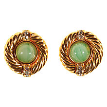 Buy Alice Joseph Vintage 1980s Givenchy Gold Plated Diamante and Glass Stone Stud Earrings, Gold/Pale Green Online at johnlewis.com