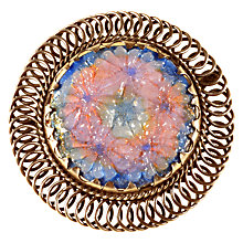 Buy Alice Joseph Vintage 1950s Gunmetal Plated Carved Glass Round Limoges Brooch, Blush/Sky Blue Online at johnlewis.com