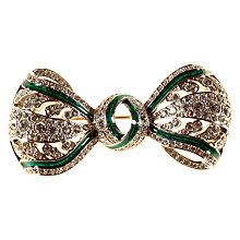 Buy Alice Joseph Vintage Silver Toned Enamel and Diamante Bow Brooch, Emerald Green/Clear Online at johnlewis.com