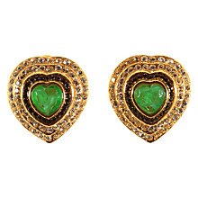 Buy Alice Joseph Vintage 1980s Bijoux Cascio Gold Toned Diamante Heart Clip-On Earrings, Green/Gold Online at johnlewis.com