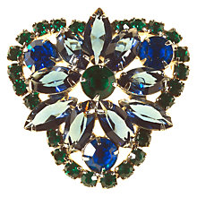 Buy Alice Joseph Vintage Silver Toned Diamante Trefoil Shape Brooch, Sapphire Blue/Emerald Green Online at johnlewis.com