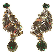 Buy Alice Joseph Vintage 1950s Norman Hartnell Silver Toned Diamante Clip-on Earrings, White Green Online at johnlewis.com