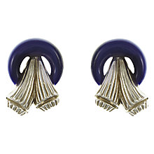 Buy Eclectica Vintage 1960s Trifari Chrome Plated Resin Art Deco Clip-On Earrings, Silver/Navy Online at johnlewis.com