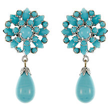 Buy Eclectica Vintage 1960s Chrome Plated Glass Cabochon Clip-On Drop Earrings, Silver/Turquoise Online at johnlewis.com