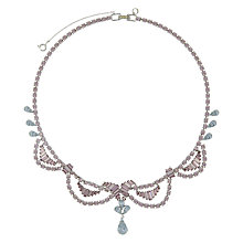 Buy Eclectica Vintage 1950s Chrome Plated Austrian Crystal Necklace, Lilac/Sky Blue Online at johnlewis.com