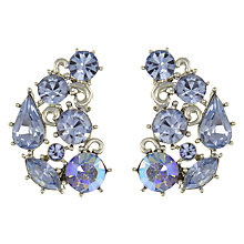 Buy Eclectica Vintage 1950s Lisner Chrome Plated Glass Rhinestone Crescent Clip-On Earrings, Blue Online at johnlewis.com