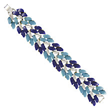 Buy Eclectica Vintage 1950s Claudette Chrome Plated Resin Bracelet, Turquoise/Navy Online at johnlewis.com