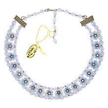 Buy Eclectica Vintage 1950s Leru Chrome Plated Resin Floral Necklace, Ice Blue Online at johnlewis.com