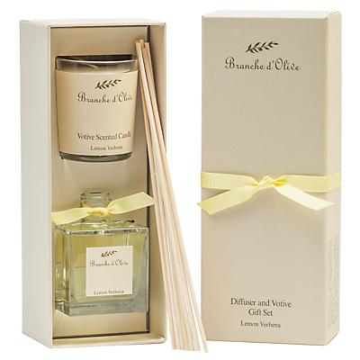 Image of Branche D'Olive Lemon Verbena Verve Diffuser & Votive Gift Set