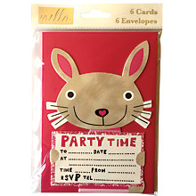 Buy Nella Bunny Party Invitations, Pack of 6 Online at johnlewis.com