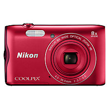 "Buy Nikon COOLPIX A300 Digital Camera, 20.1MP, HD 720p, 8x Optical Zoom, Wi-Fi, Bluetooth, NFC & 2.7"" LCD Screen Online at johnlewis.com"