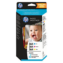 Buy HP 364 Photo Value Pack With Cyan, Yellow & Magenta Ink Cartridges And 50 Sheets Of Photo Paper Online at johnlewis.com