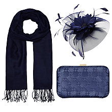 Buy John Lewis Sara Crin Fascinator, Occasion Scarf and Rebecca Box Clutch Bag Set, Navy Online at johnlewis.com