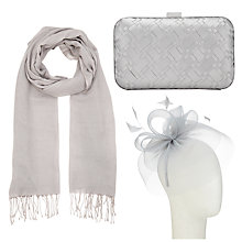 Buy John Lewis Eva Crin Fascinator, Occasion Scarf and Rebecca Box Clutch Bag Set, Silver Online at johnlewis.com