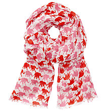 Buy John Lewis Elephant Print Scarf, Red/Pink Online at johnlewis.com