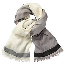 Buy John Lewis Colour Block Wool Scarf, Taupe/Cream Online at johnlewis.com