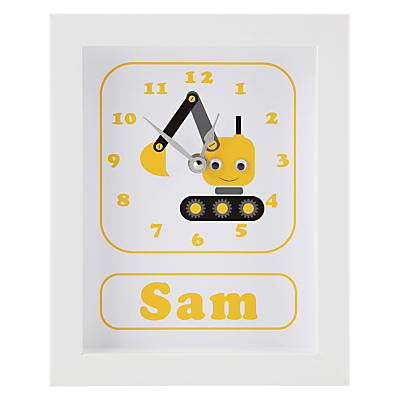 Image of Stripey Cats Personalised Dillan Digger Framed Clock, 23 x 18cm