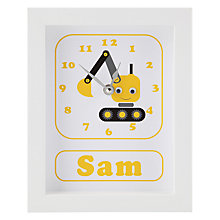 Buy Stripey Cats Personalised Dillan Digger Framed Clock, 23 x 18cm Online at johnlewis.com