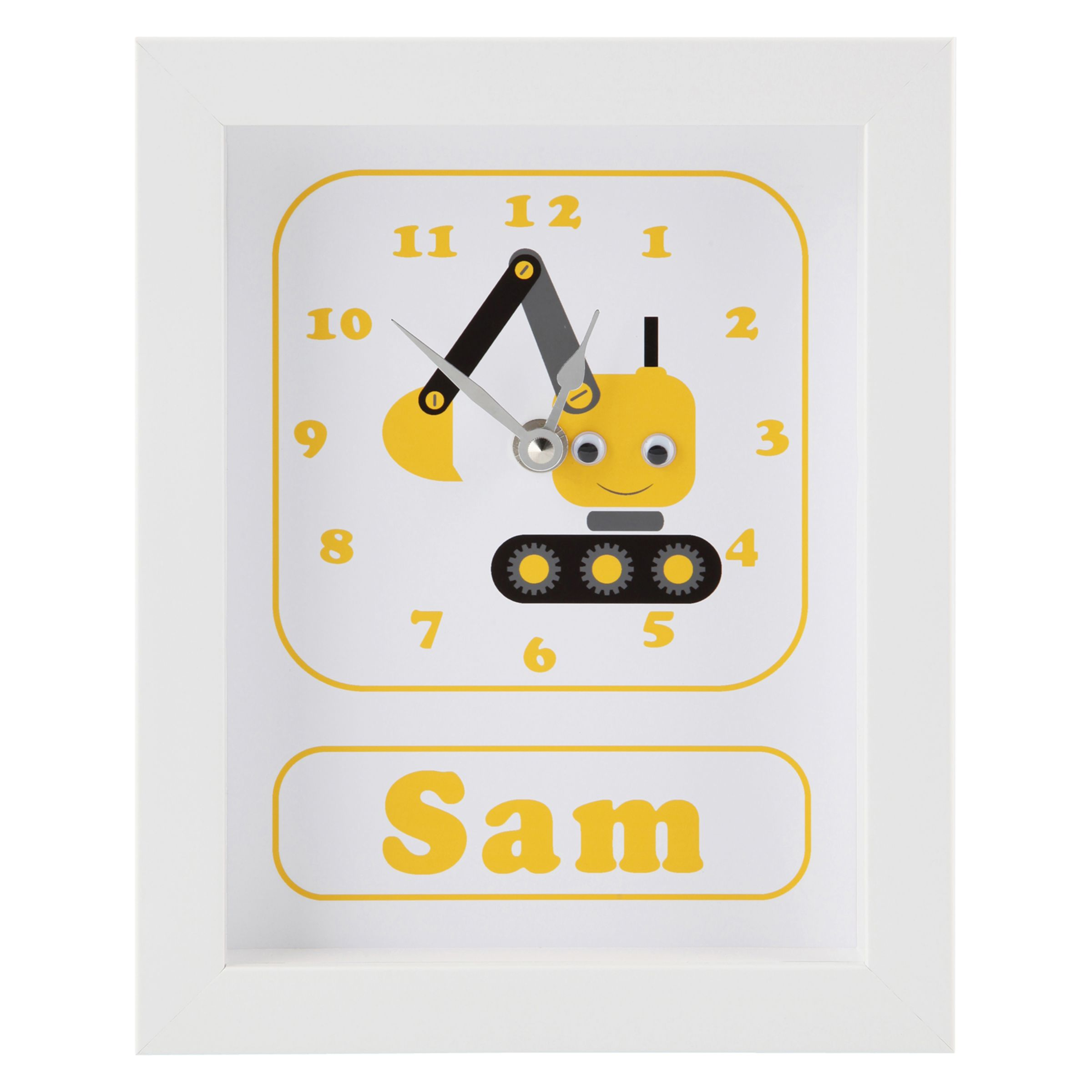 Stripey Cats Stripey Cats Personalised Dillan Digger Framed Clock, 23 x 18cm