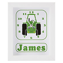Buy Stripey Cats Personalised Trevor Tractor Framed Clock, 23 x 18cm Online at johnlewis.com