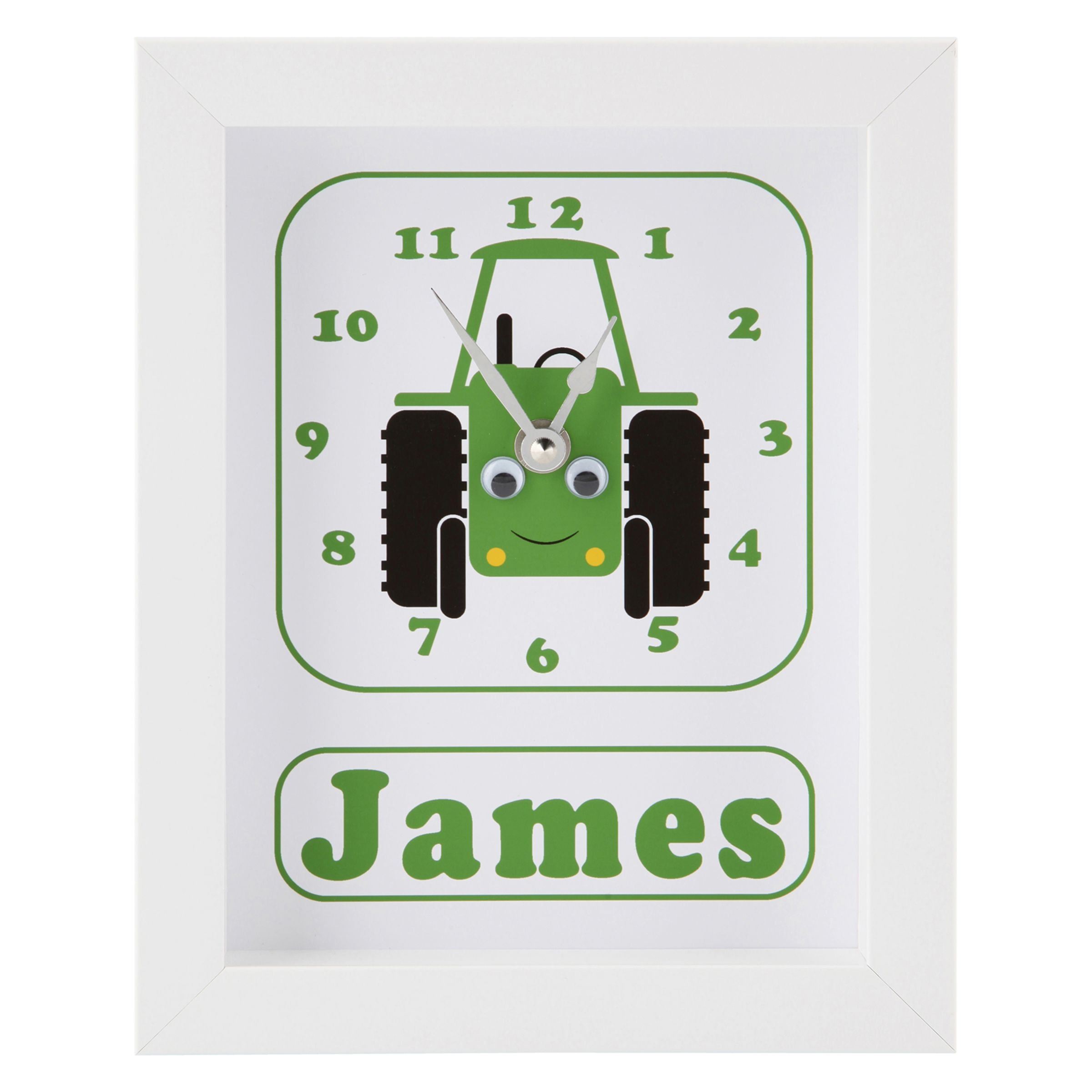 Stripey Cats Stripey Cats Personalised Trevor Tractor Framed Clock, 23 x 18cm