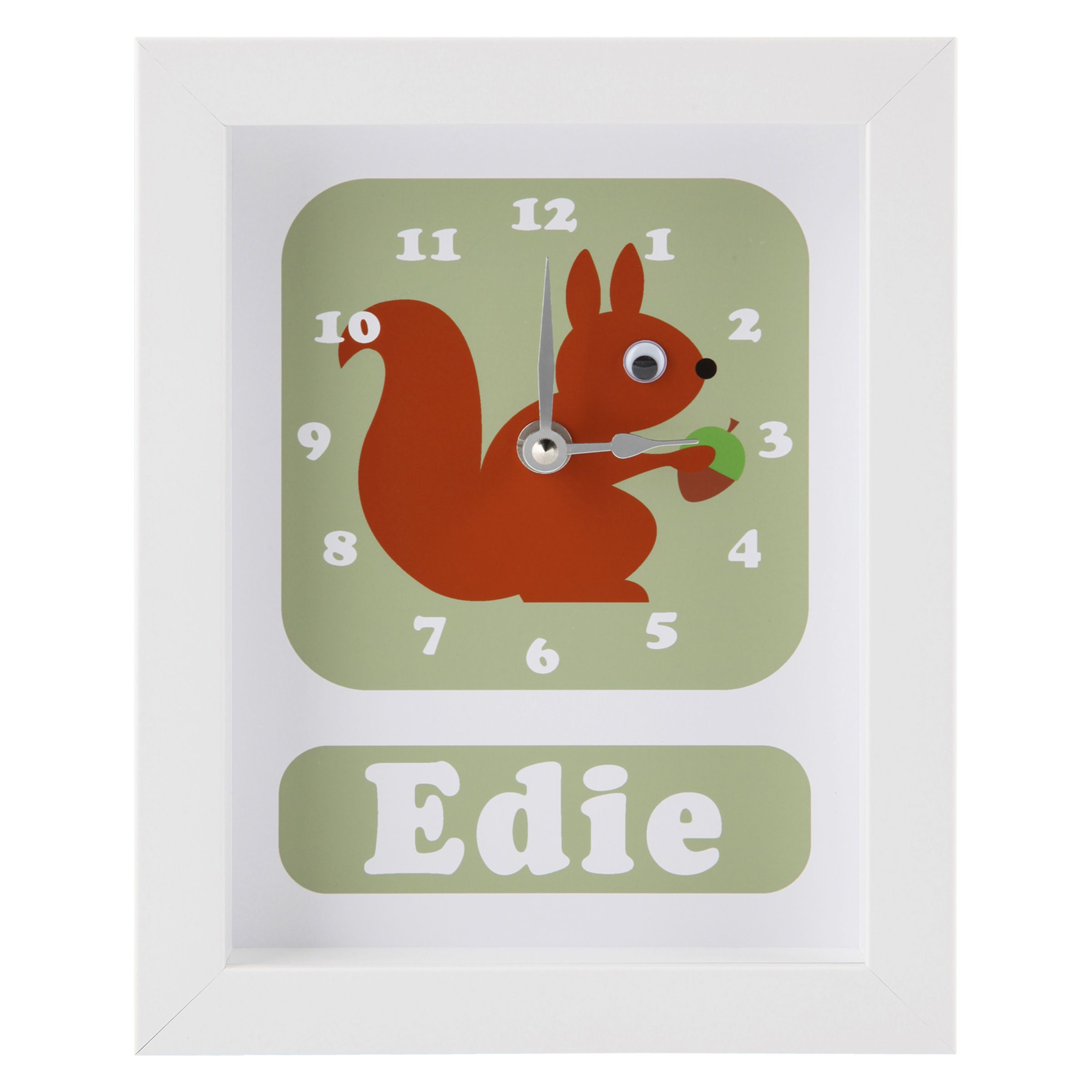 Stripey Cats Stripey Cats Personalised Pip Squirrel Framed Clock, 23 x 18cm