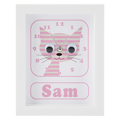 Stripey Cats Personalised Sammy Stripey Cat Framed Clock, 23 x 18cm