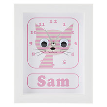 Buy Stripey Cats Personalised Sammy Stripey Cat Framed Clock, 23 x 18cm Online at johnlewis.com
