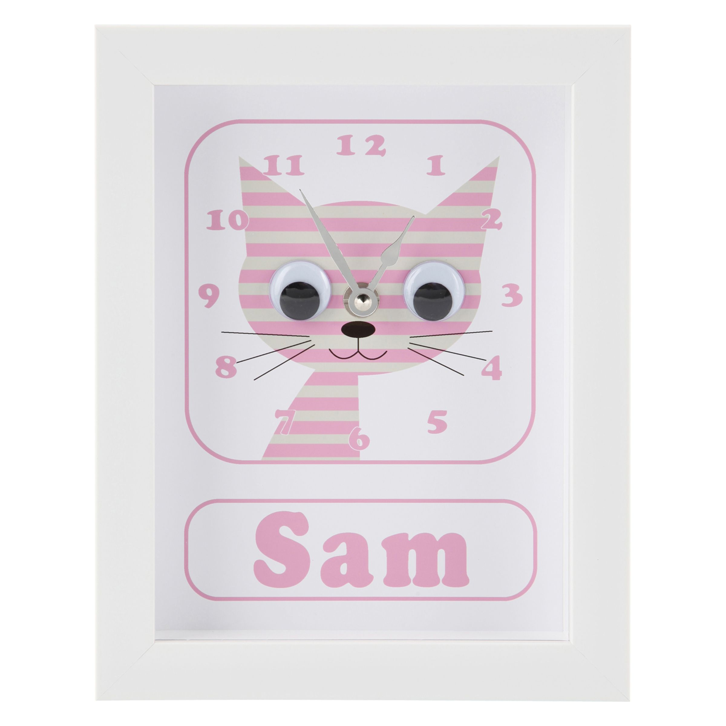 Stripey Cats Stripey Cats Personalised Sammy Stripey Cat Framed Clock, 23 x 18cm