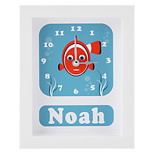 Buy Stripey Cats Personalised Clive Clownfish Framed Clock, 23 x 18cm Online at johnlewis.com