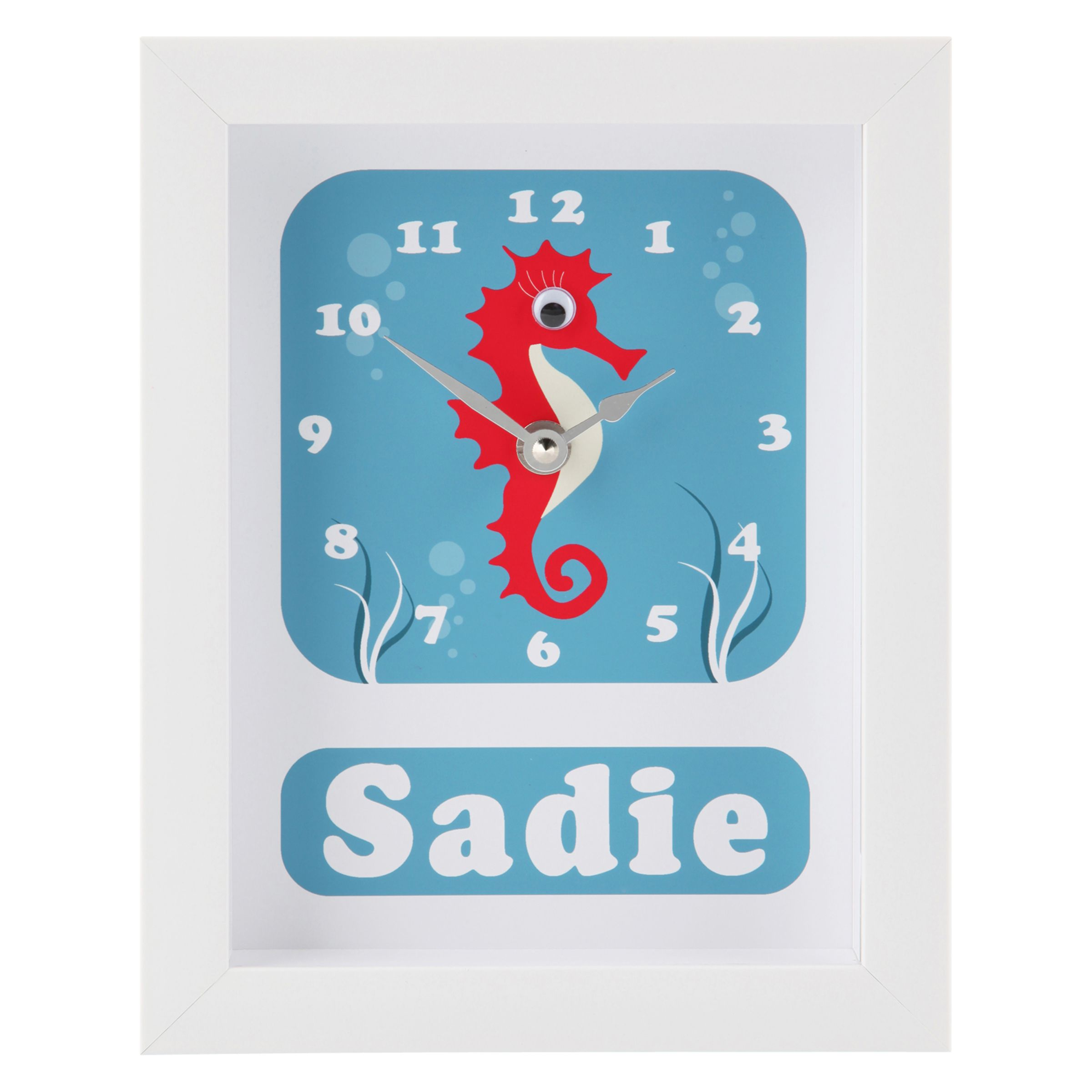 Stripey Cats Stripey Cats Personalised Selma Seahorse Framed Clock, 23 x 18cm