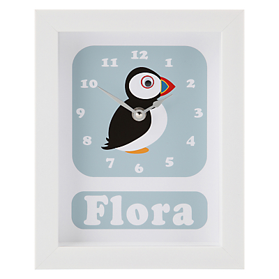Stripey Cats Personalised Polly Puffin Framed Clock, 23 x 18cm