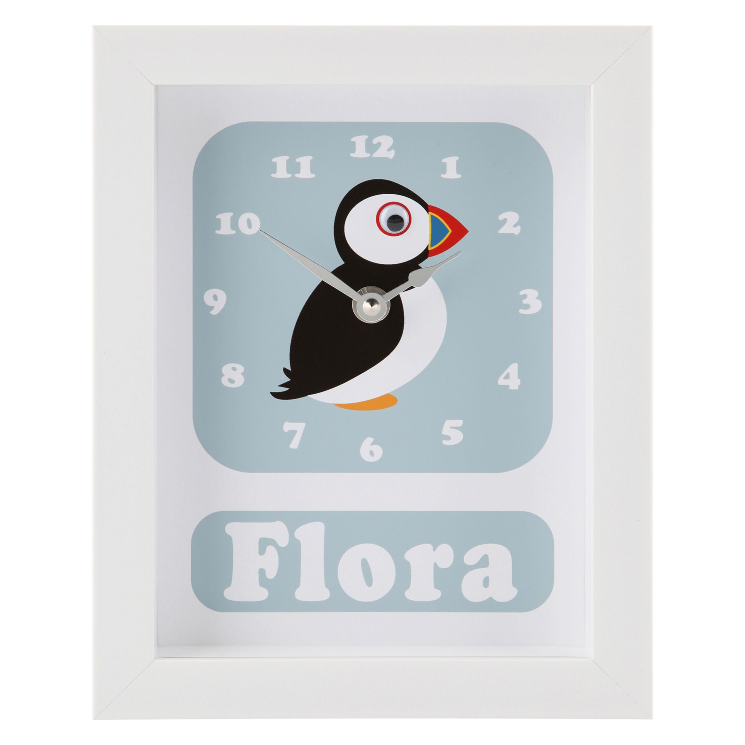 Stripey Cats Stripey Cats Personalised Polly Puffin Framed Clock, 23 x 18cm